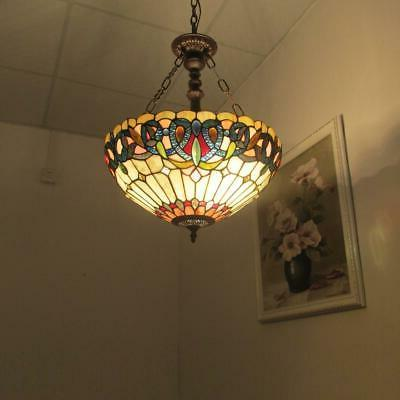 """SERENITY Tiffany-style Victorian Inverted Ceiling 18"""" Shade"""