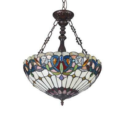 """SERENITY Tiffany-style 3 Victorian Inverted Ceiling 18"""" Shade"""