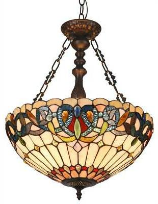 serenity tiffany style 3 light victorian inverted