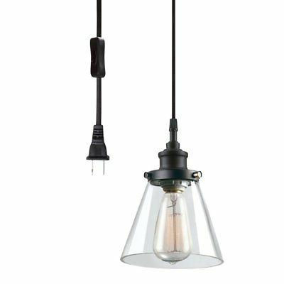 Globe Electric Skylar 1-Light Plug-In Pendant, Clear Glass S
