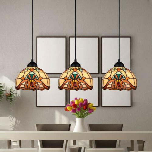 Tiffany Victorian 3-Light Hanging Pendant Light Stained Glas