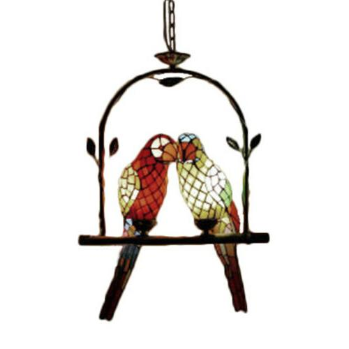 Tiffany Light Glass Parrots Hanging Ceiling