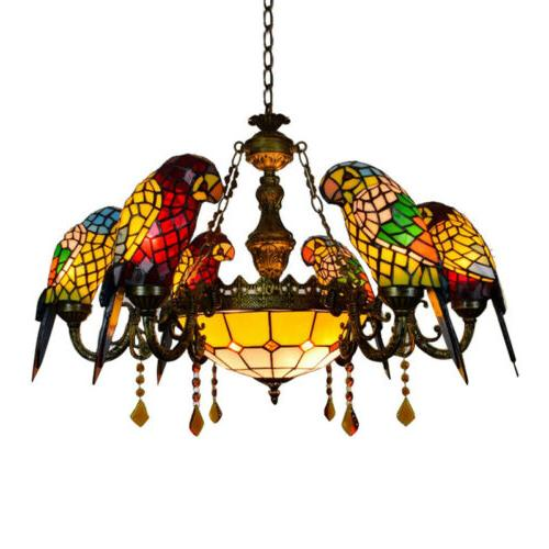 Tiffany Light Glass 6 Parrots Chandelier Hanging