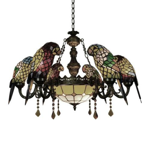 Tiffany Glass Parrots Chandelier Hanging