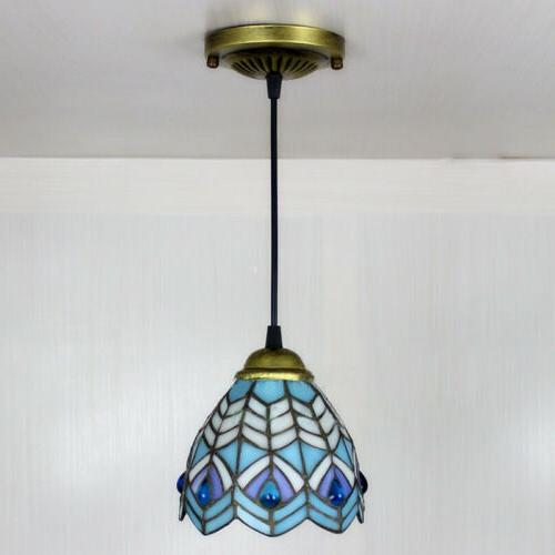 Tiffany Style Stained Glass Light Bar Hanging Ceiling Lamp