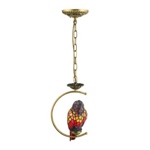 Tiffany Stained Glass Parrot Hanging Ceiling Chandelier