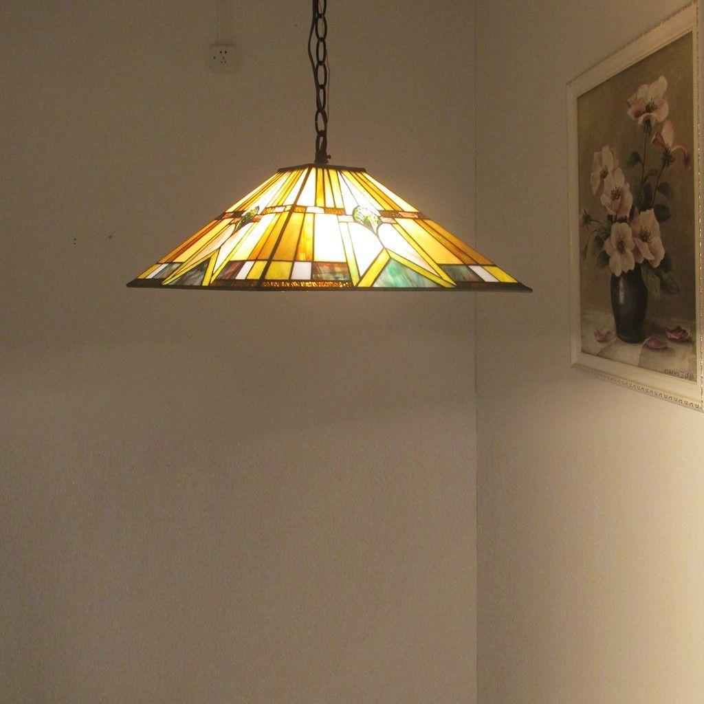 Tiffany Ceiling Fixture 2-Light Hanging Lamp