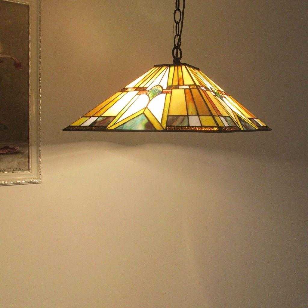 Tiffany Stained Glass Ceiling Pendant Fixture 2-Light Hanging