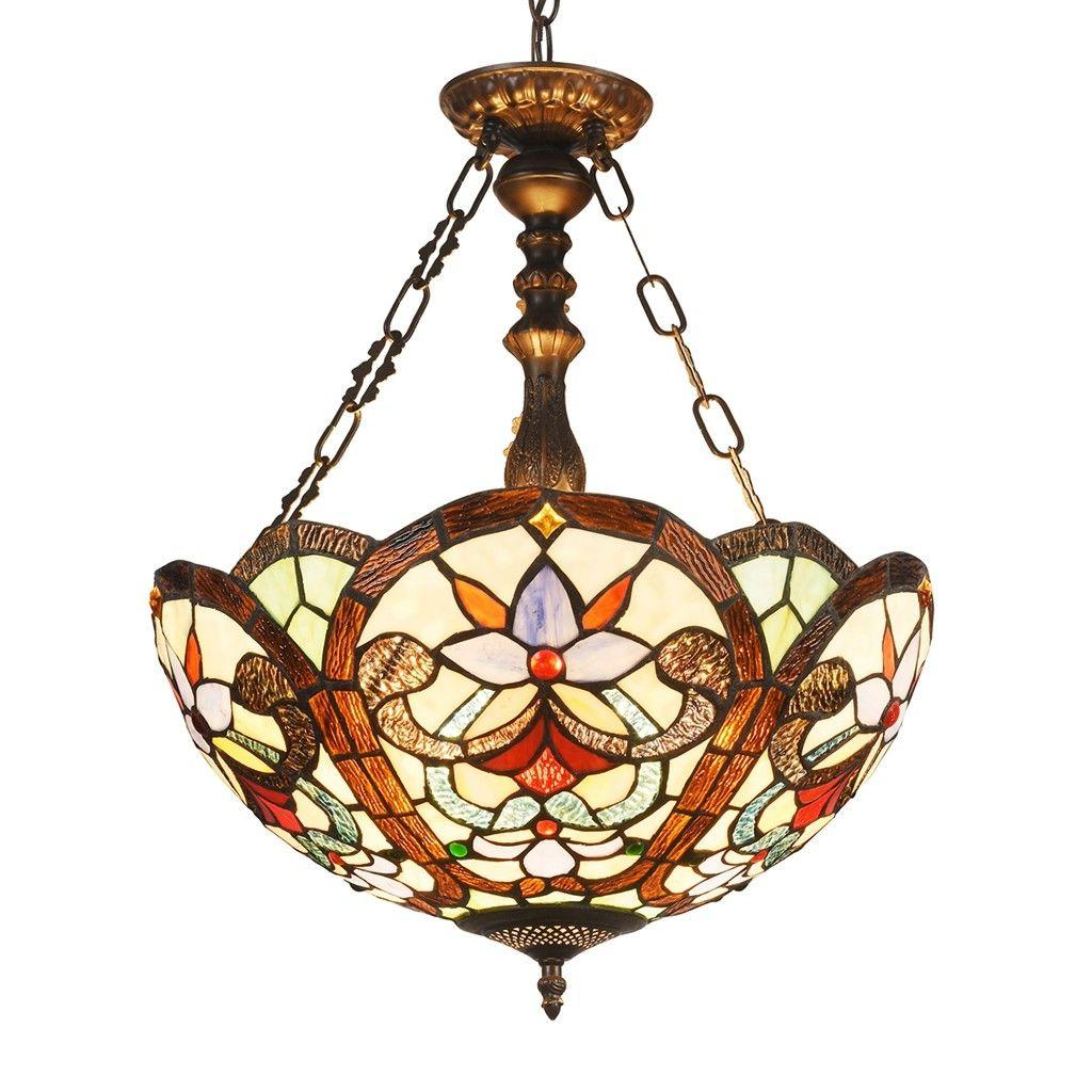 Tiffany Style Inverted Hanging Ceiling Pendant Lamp Stained