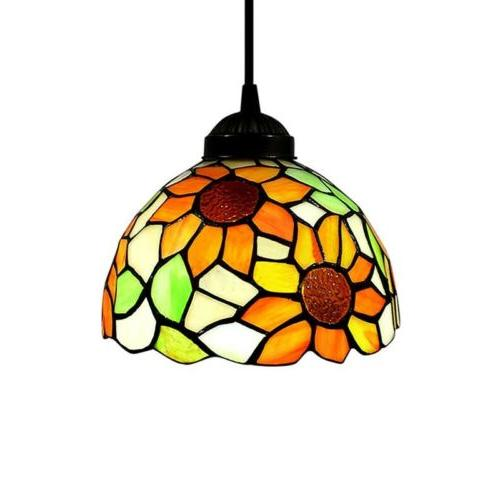 Tiffany Sunflower Stained Shade Pendant Light Ceiling Lamp
