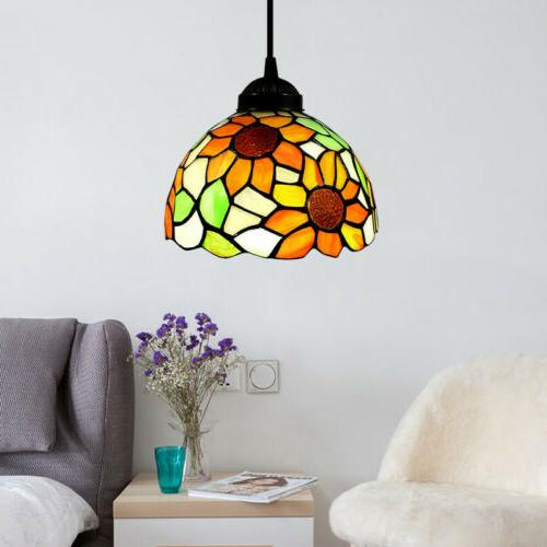 tiffany sunflower stained glass shade pendant light