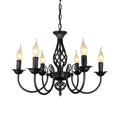 us 6 heads wrought iron chandelier hanging