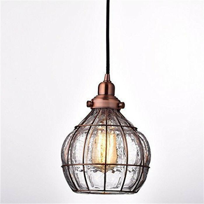 YOBO Lighting Vintage Cracked Glass Rustic Wire Ceiling Pend