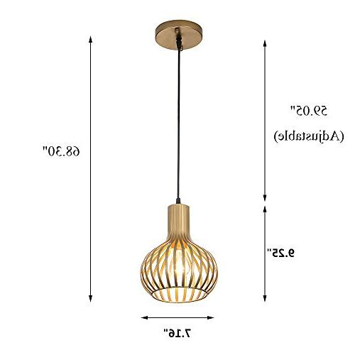 Popilion Vintage Ceiling Light,Industrial Adjustable Pendant with Gold