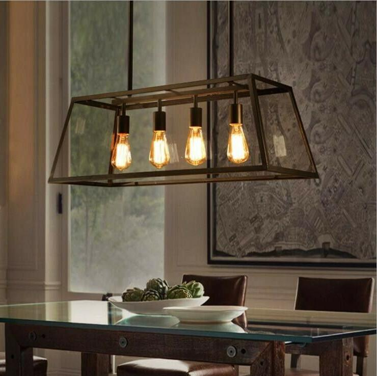 Industrial 4-Light Kitchen Island Light Pendant Lamp Chandel