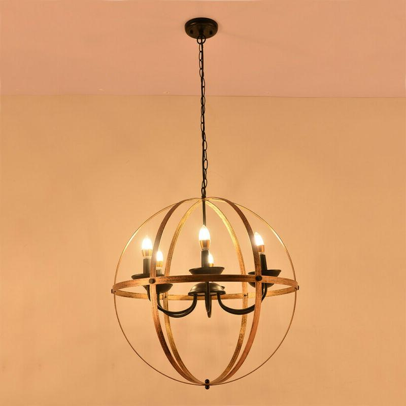 Vintage Industrial Chandelier Hanging Light Cage