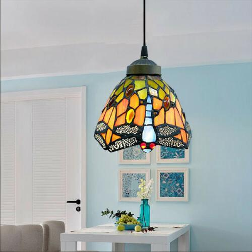 Vintage Light Dragonfly Stained Glass Shade Ceiling
