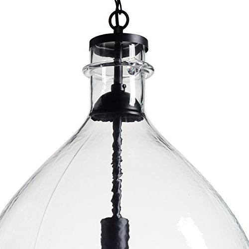 CASAMOTION Blown Glass Light, 1 diam.25.6''h, Clear,