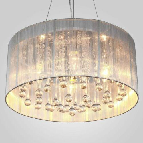 white drum pendant light shade crystal ceiling