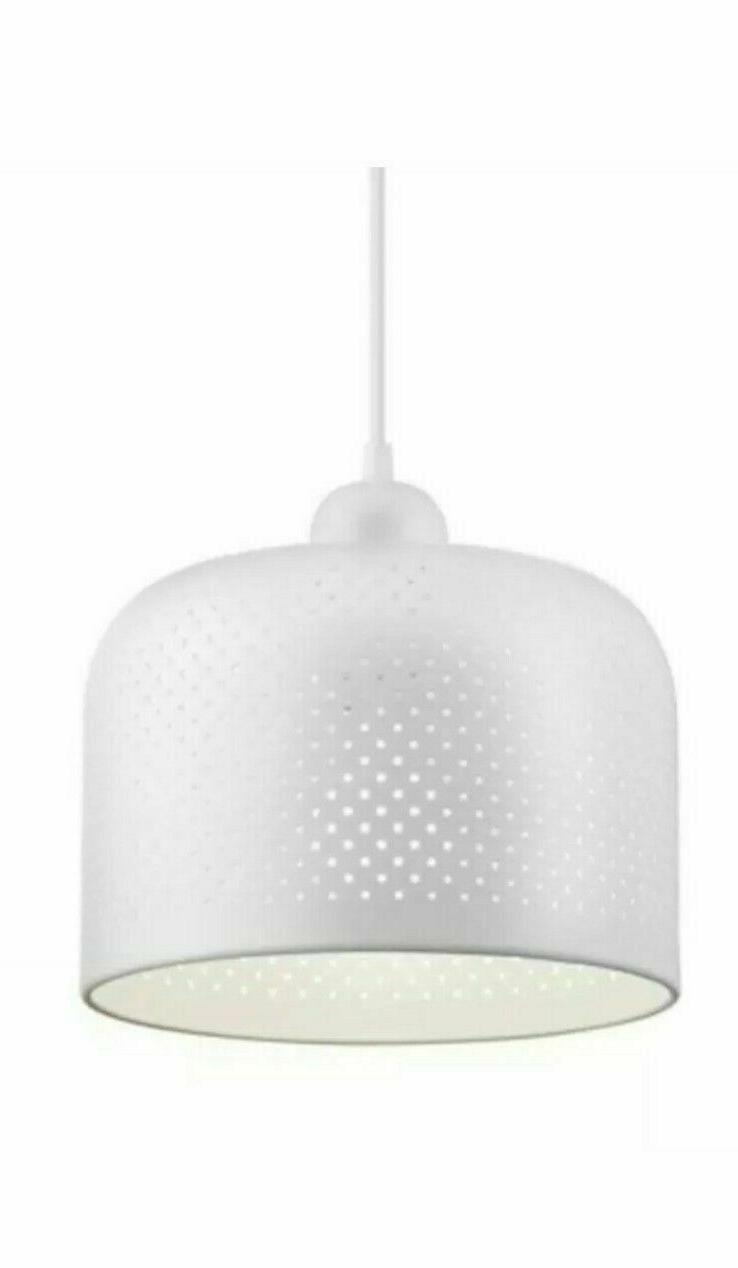 white pendant light modern farmhouse perforated cylinder