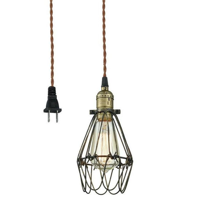 Wire Plug-In Pendant Light Metal Cage Ceiling Light Metal Sw