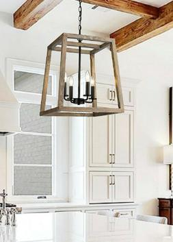 Large Modern Rustic Wooden Lantern 4 Light Fixture Ceiling P