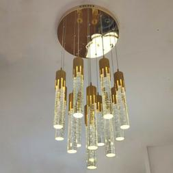 LED Gold Crystal Pendant Light Lobby Chandelier Stair Dining