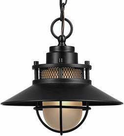 Globe Electric 44166 Liam Outdoor Pendant, Matte Black