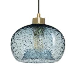 Casamotion Light Brass Rustic Seeded Glass Pendant Light w/