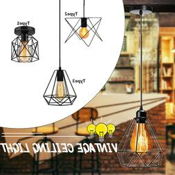 2020 Metal WireCage Hanging Lamp Shade Plug In Ceiling Chand