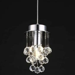 Mini Crystal Chandelier Pendant Light Fixture Chrome Hanging