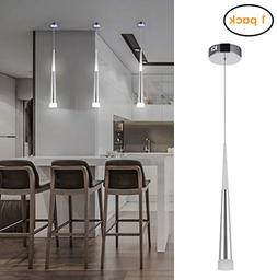 Harchee Mini Modern Pendant Light in Silver Brushed Finish w
