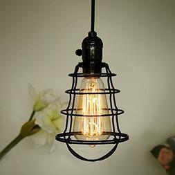COOLWEST Industrial Pendant Light, Mini Hanging Caged Pendan