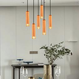 Minimalist LED Pendant Light Long Rose Gold Pendant Restaura