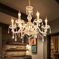 Ridgeyard 6 Arms Clear Gold Chandelier Lighting Ceiling Fixt