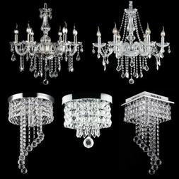 Modern Chandelier Crystal Glass LED Ceiling Light Fixture Pe
