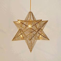 Modern Creative Bar Club Platinum Gold Pentacle Pendant Lamp