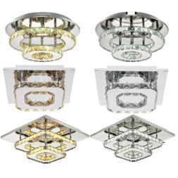 Modern Crystal Ceiling Light LED Pendant Lamp Flush Mount Ch