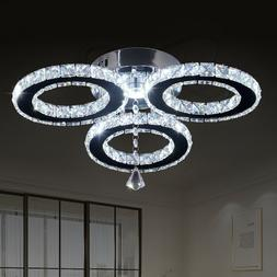Modern Crystal Chandeliers 3 Rings Ceiling Light Fixture Sta