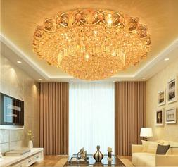 Modern Flush Mount LED Ceiling Lamp K9 Crystal Chandelier Pe