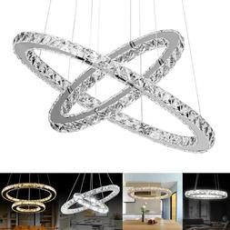 Modern Galaxy Crystal Chandelier Circles Pendant LED Light C