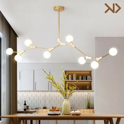 Modern Glass Globe Chandelier Metal Branch 8 Light Pendant L