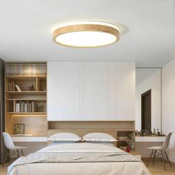 Modern LED Dimmable Pendant Light Bedroom Wooden Round Flush