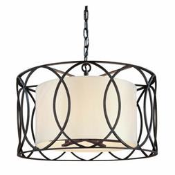 Canarm Monica Oil Rubbed Bronze One-Light Drum Pendant with