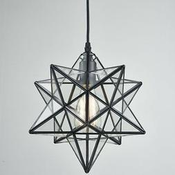 Moravian Star Ceiling Light Clear Glass Pendant Light Foyer