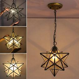 Moravian Star Glass Pendant Chandelier Light Modern Ceiling