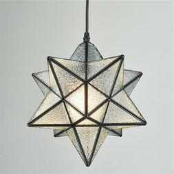 Moravian Star Light Textured Glass Pendant Light Foyer Dinni