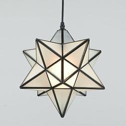 "Moroccan Moravian Star 12"" Frosted Glass Pendant Foyer Kitch"