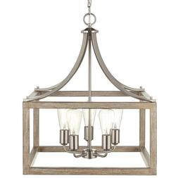 Pendant Light 5-Bulb 100-Watt 60 in. Hanging Chain Wood Cage