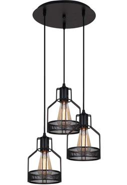New Unitary Brand Rustic Black Metal Cage Shade Dining Penda